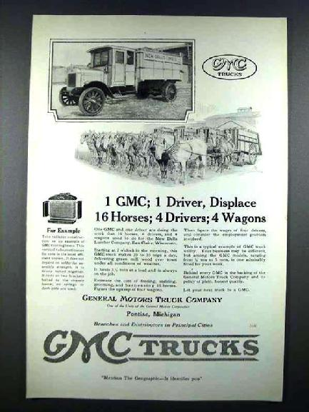 Rare1919 GMC Truck Ad showing the devastating affect this truck will have on early Teamster jobs.